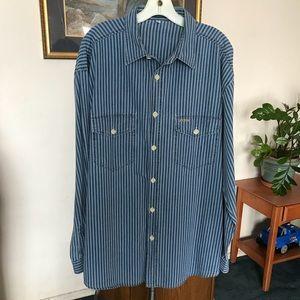 Guess Blue Striped Button Down Shirt SZ XXXL EUC